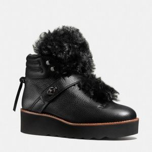 Coach Urban Hiker shearling-trimmed leather boots